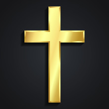 3d Classic Shape Simple Golden Shiny Metal Cross