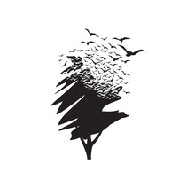 A Tree With The Effect Of Destruction. Dispersion. Birds