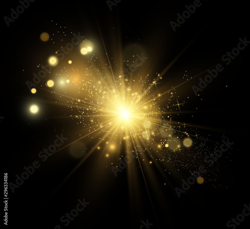 Obraz Beautiful golden vector illustration of a star on a translucent background with gold dust and glitters. A magnificent light base for your design. - fototapety do salonu