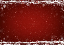 Red Christmas Background With Snow And Falling Snowflakes And Snowy Decorative Lines - Abstract Illustration, Vector