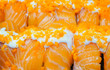 Salmon sushi egg shrimp and rice with mayonnaise sauce and white sesame,japanese food,pattern background,selective focus