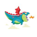 Fototapeta Dinusie - Cute little dragon flying in the sky.