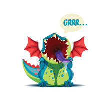 Vector Illustration Of The Cute Little Dragon Is Roaring