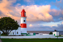 Souter Lighthouse At Sunset, Located On The South Tyneside Coastline At Lizard Point Above The Magnesian Limestone Cliffs