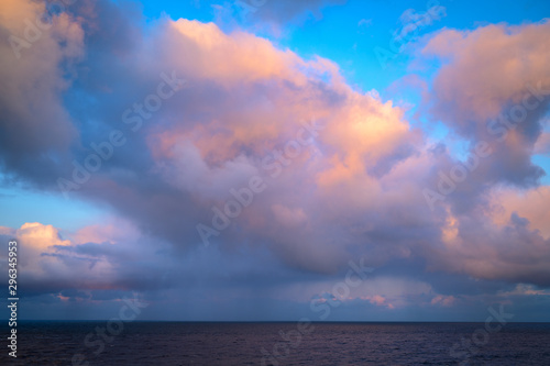 Fotobehang Noord Europa Rain Clouds over the North Sea from Souter Lighthouse, located on the South Tyneside coastline at Lizard Point