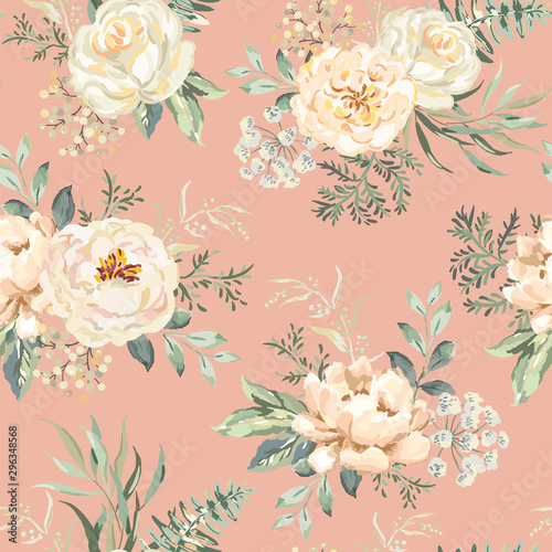 Papel de parede Rose, peony flowers with green leaves bouquets, pink background