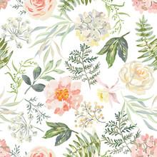 Pink Rose, Peony Flowers, Green Leaves, Fern, White Background. Floral Illustration. Vector Seamless Pattern. Botanical Design. Nature Summer Plants. Romantic Wedding