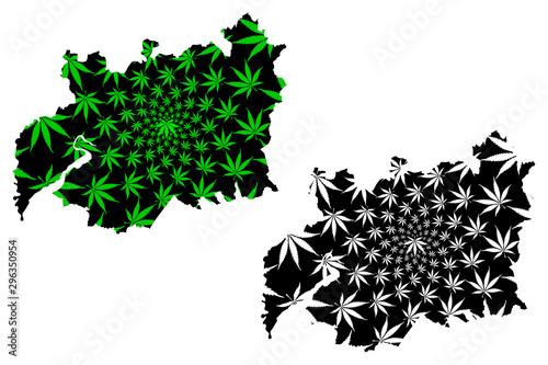 Obraz na plátně Gloucestershire (United Kingdom, England, Non-metropolitan county, shire county) map is designed cannabis leaf green and black, Gloucs