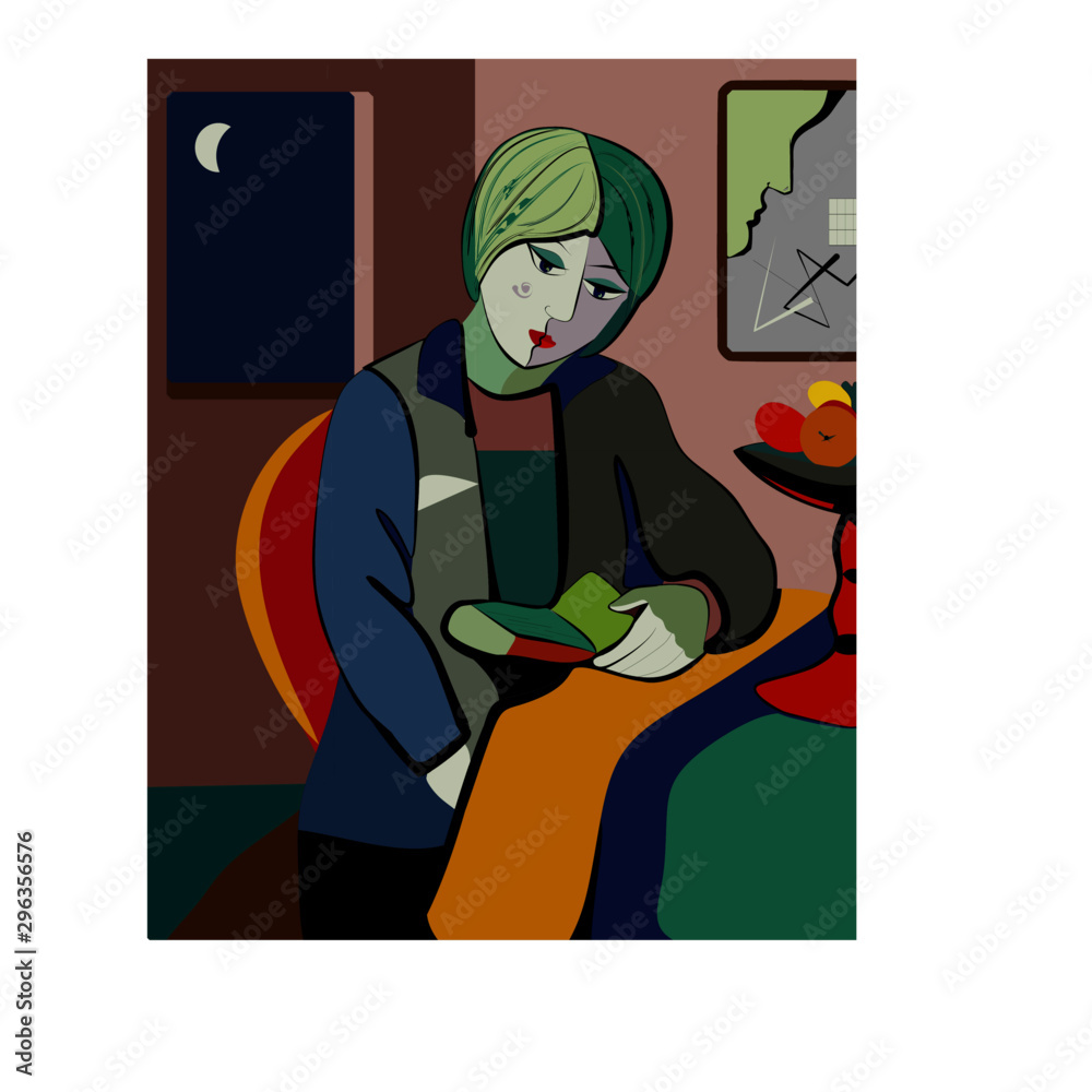 Colorful abstract background, cubism art style, portrait of girl girl reading book