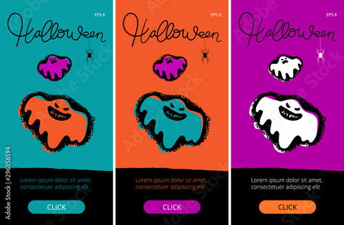 Photo Halloween's set of a vivid banners with a button, hand drawn ghosts and letterin