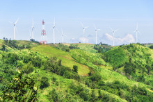 Windmills For Alternative Substitute Electric Power Energy On Mountain At Khao Kho, Phetchabun, Thailand