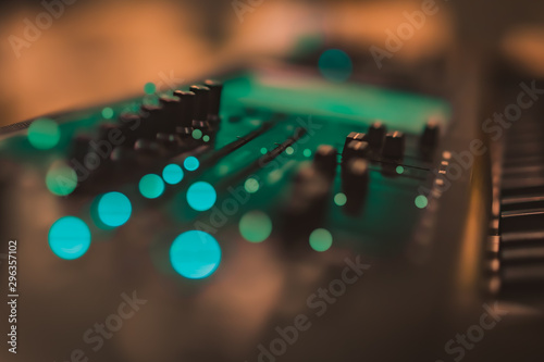 Electric piano keyboard blurred background with beautiful bokeh. - 296357102