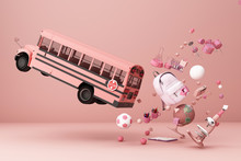 Back To School ,inspiration, Poster With Educational Equipment And School Bus. 3d Rendering
