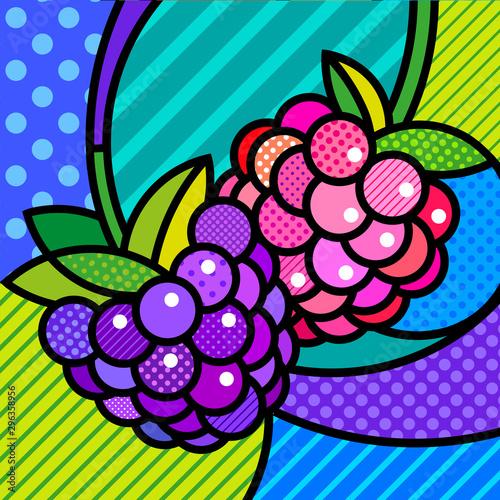 Blackberry and Raspberry pop art modern vector design element Canvas Print