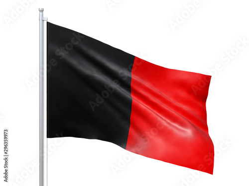 Fotografie, Obraz  Aosta Valley (Region of Italy) flag waving on white background, close up, isolated