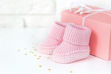 Waiting Baby, Baby Shower. Pink Girl Newborn Shoes