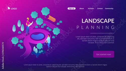 Aluminium Prints Violet Tiny people landscape designer planning and gardener planting decorative plants. Landscape design, landscape planning, gardening services concept. Isometric 3D website app landing web page template