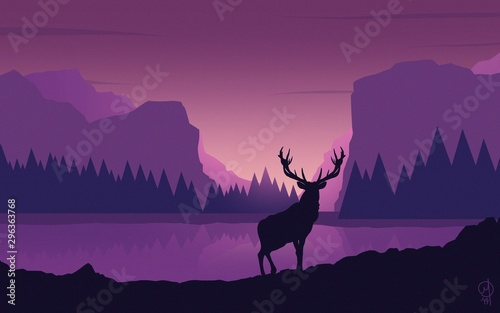 Printed kitchen splashbacks Violet deer art