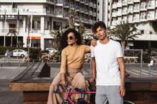 Cool Couple With Bicycle In Th...