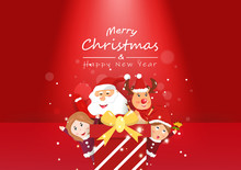 Merry Christmas, Surprise Party, Celebration Seasonal Holidays, Cute Girl, Santa And Reindeer Cartoon Character Vector, Greeting Card Invitation Background Illustration