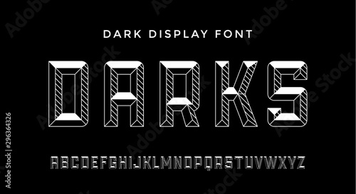 Photo 3D Modern Font . Dark modern line alphabet