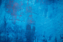 Beautiful Blue Painted Grunge Wall Texture, Different Blue Tones