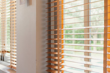 White Window Shutter Blind With Light From Sun Home Interior Concept