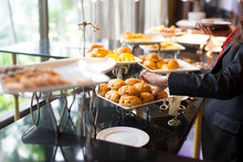 People Group Catering Buffet Food Indoor, With Food And Beverage,Eat Together.