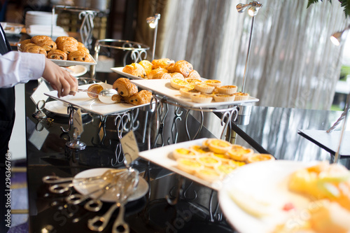 Fotografia, Obraz  people group catering buffet food indoor, with food and beverage,Eat together