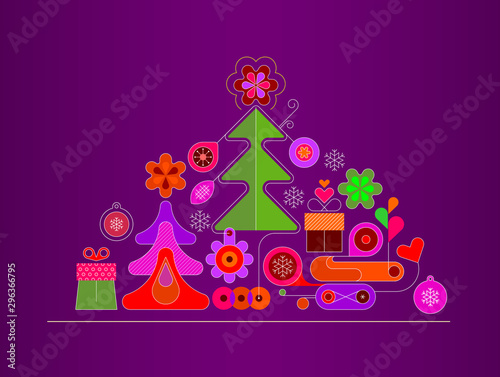Fotobehang Abstractie Art Christmas and New Year Background Design