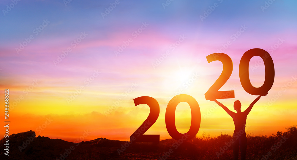 Obraz Happy new year 2020 - Happy Girl With Numbers At Sunrise fototapeta, plakat