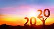 Leinwanddruck Bild - Happy new year 2020 - Happy Girl With Numbers At Sunrise