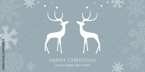 Fotografía christmas greeting card with reindeers and snowflake border vector illustration