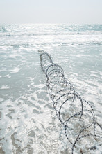 Top Angle View Of Barbed Wire ...