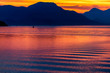 canvas print picture Reflection on Ocean at Sunset, Mountains