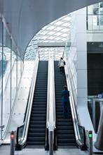 Modern Escalators In Train Station