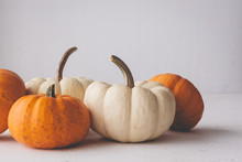 Pumpkins On  Isolated White Ba...