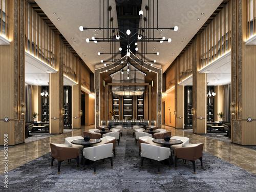 Cuadros en Lienzo 3d render of hotel lobby