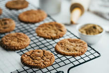 Close Up View Of Ginger Cookies On Cooling Rack