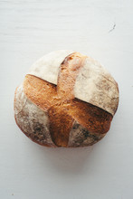 Top Angle View Of Italian Bread Loaf On Isolated Background