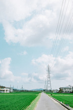 Panoramic View Of Transmission Tower On The Green Field