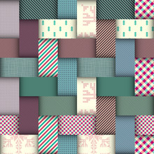 Paper Cut Shapes Design. Seamless Vector Pattern. Patchwork Layered Style.