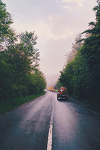 Rear View Of Water Truck On Ru...