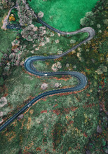 Aerial View Of Winding Road Pa...
