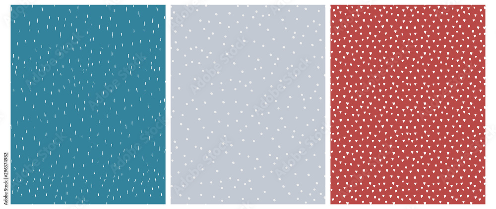 Fototapety, obrazy: 3 Cute Abstract Geometric Vector Patterns.White, Blue and Red Color Design. Brushed Raindrops on a Blue Background. Irregular White Dots on a Gray. Romantic Print With White Hearts Isolated on a Red.