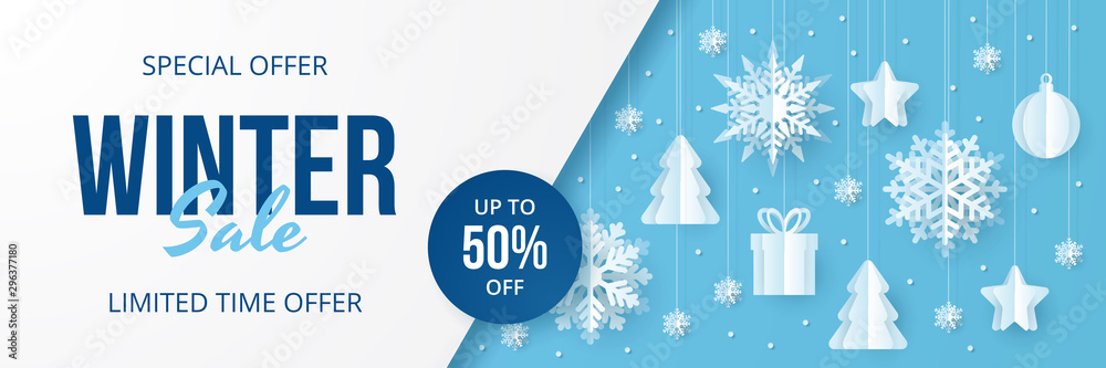 Fototapeta Winter sale banner. Paper cut vector. Vector Illustration.