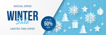 Winter Sale Banner. Paper Cut ...