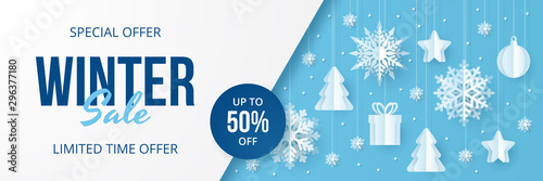 Cuadros en Lienzo  Winter sale banner. Paper cut vector. Vector Illustration.