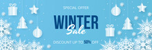 Winter Sale Banner. Paper Cut ...