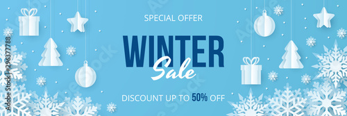 Fotomural  Winter sale banner. Paper cut vector. Vector Illustration.
